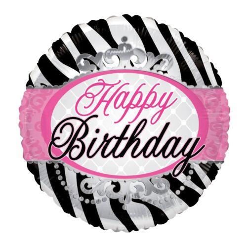 7 pc Zebra Princess Happy Birthday Balloon Bouquet Girl Queen Party Theme Tiara