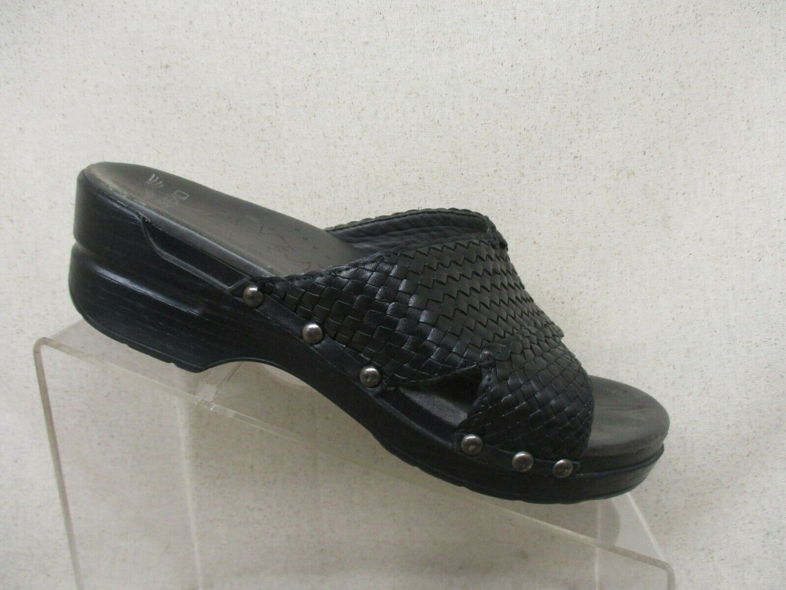 Dansko Cuir noir Weave Confort Sabots Sandales chaussures Taille 38 eur