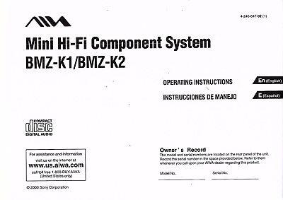 Aiwa Bedienungsanleitung User Manual Owners Manual Für Bmz- K1 Und K2 Copy Auf Dem Internationalen Markt Hohes Ansehen GenießEn