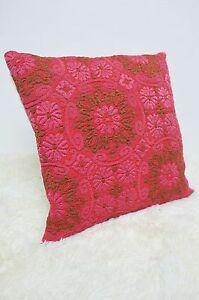 Retro-Cushion-Cover-16x16-034-Amazing-Original-Pink-60s-70s-Fabric-Vintage-Floral