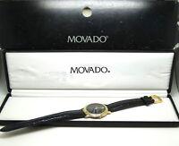 MOVADO Museum Quartz 18k GP Gold Case Leather Band Black Dial Watch 87 E4 9890