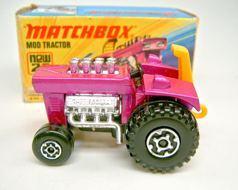 Matchbox superfast nr.25b mod traktor 1.gu ß form mit scheinwerfern oben im kasten