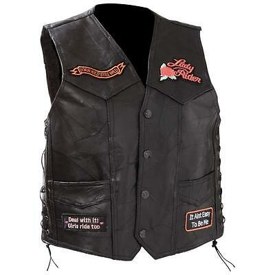 ladies womens black leather motorcycle biker vest live to ride patches