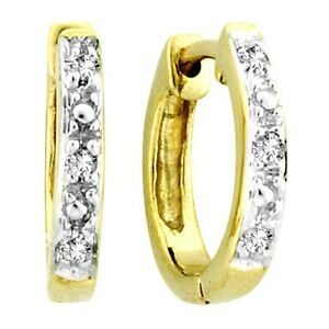 10K-Yellow-Gold-Mens-Ladies-Children-Genuine-Diamond-Hoops-Earrings-11mm