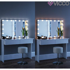 Détails sur Vicco Table de maquillage Azur commode de coiffeuse LED blanc  tabouret + miroir