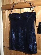 "New Look Sequinned Dress Size 16. Blue Sequins 40"" Chest Optional Shoulder Strap"
