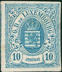 Lussemburgo LUXEMBOURG 1859 STEMMA 10c. inutilizzato MH * mi:6c kw:150 €