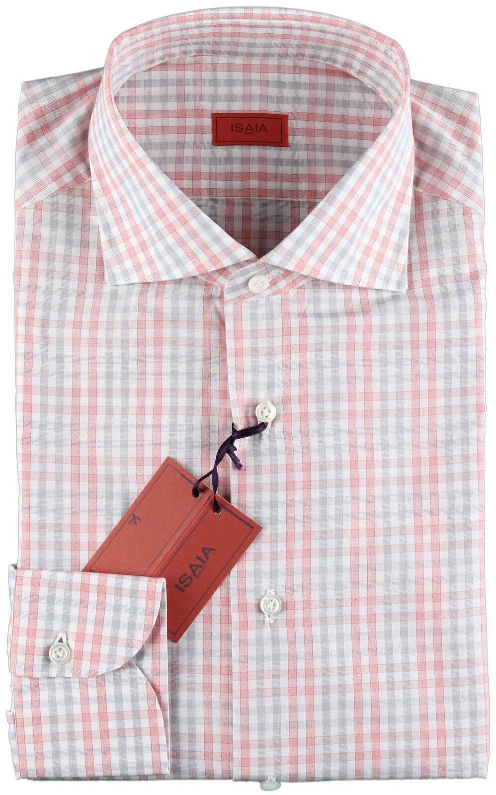NWT ISAIA SHIRT white, pink & grey striped luxury spread handmade  40 15 3