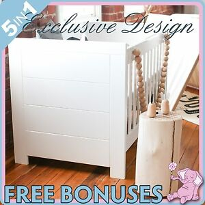 NEW-5-In-1-WHITE-BABY-COT-BASSINET-TODDLER-BED-CHANGE-TABLE-MATTRESS