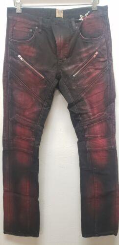 PRPS GOODS /& CO men/'s japanese denim jeans black red slim fit demon moto biker