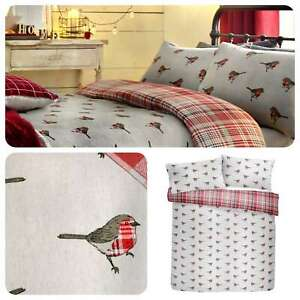 Fusion-ROBIN-Christmas-Bedding-Winter-Xmas-Duvet-Cover-Set-Tartan-Check-Cotton