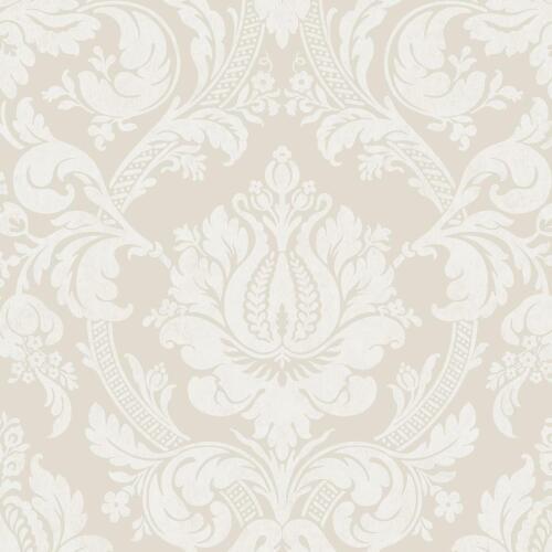 Damassé Gris Perle Papier Peint Shimmer Metallic Floral Fleurs Blanc Motif