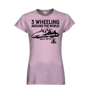 Womens-Light-Pink-3-Wheeling-T-shirt-3-Wheeling-Around-the-World-Sidecar-Racing