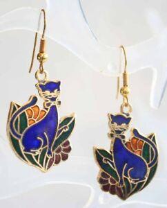 Fabulous-Blue-Cloisonne-Enamel-Cat-with-Flowers-Earrings-1970s-vintage