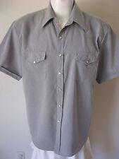 Mens Western Shirt L Gray Short Sleeve Cowboy Pearl Snap Large