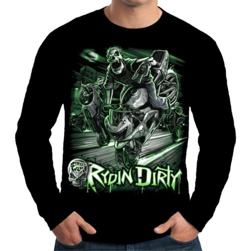 Velocitee Mens Long Sleeve T Shirt Rydin Dirty Skeleton Biker Motorcycle A11497