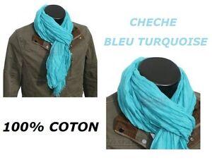 CHECHE BLEU TURQUOISE 100% COTON HOMME FEMME ECHARPE MOTARD FOULARD ... 92cd6dcfaa3