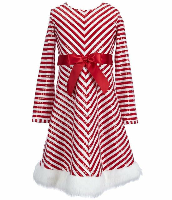 Red 4-16 Bonnie Jean Girls Sequins Striped Holiday Christmas Santa Red Dress