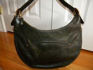 0423ed922de9 Michael Kors Dark Green Leather Slim Hobo Handbag Purse w/Gold Studs ...