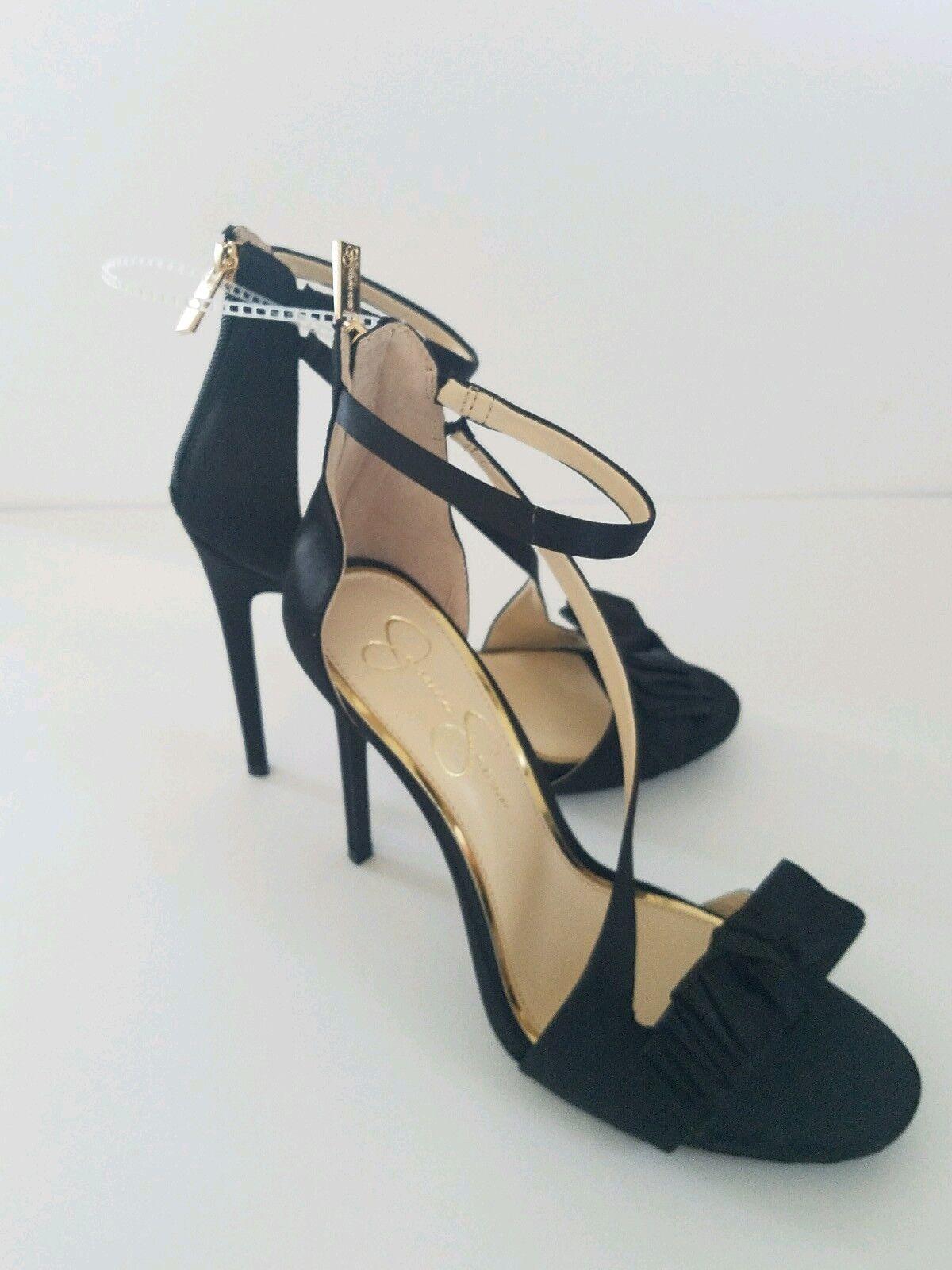 Jessica crystal simpson damen high heels sleenback crystal Jessica satin schwarz schuhe Größe 8.5 8502ad
