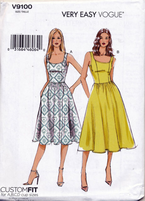Vogue Sewing Pattern 9100 Misses Sz 6-14 Custom Fit Dress With ...