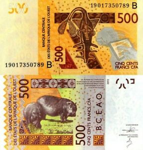 WEST-AFRICAN-STATES-BENIN-500-Franc-2019-Code-B-P-New-Not-in-Catalog-UNC