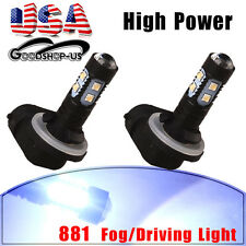 2x 881 High Power 50W LED 7000K Cool White Fog Driving DRL Light 886 889 12V-24V