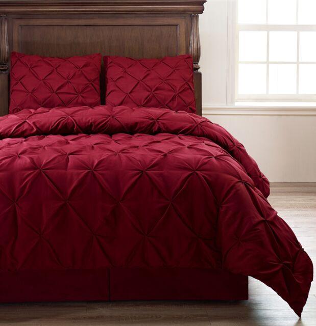 Pinch Pleat BURGUNDY 4-Piece Comforter Set, Full Queen Size Bed Cover Set