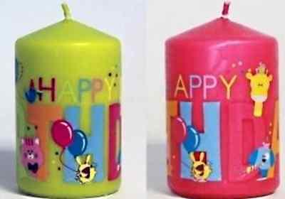 GROSSE BOUGIE ANNIVERSAIRE HAPPY BIRTHDAY ROSE BLEU OU VERTE ENFANT ANIMAUX NF