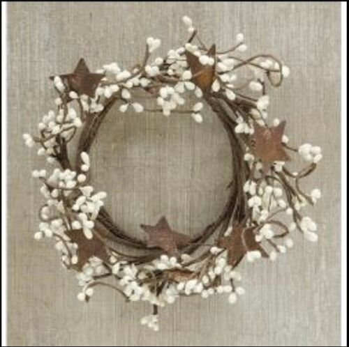 """Pip Berry Spring Summer Candle Ring Wreath Ivory  3.5/"""" ~ 4/"""" opening rusty stars"""