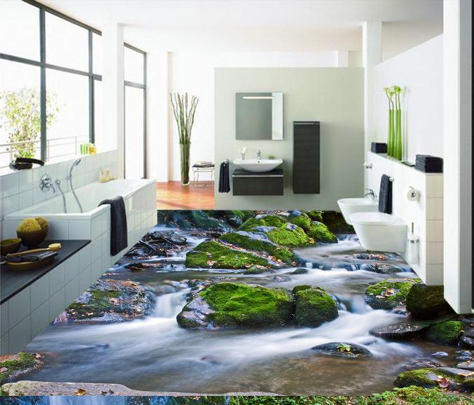 3D Grün Stone Stream 12 Floor WallPaper Murals Wall Print Decal 5D AJ WALLPAPER