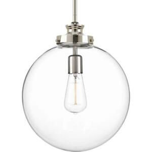 Progress Lighting Penn 12 in. 1-Light Polished Nickel Large Pendant