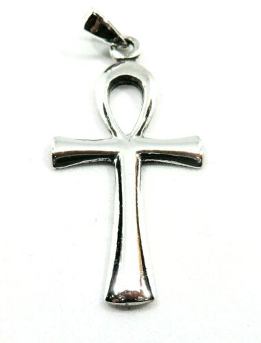 Lederband Neu ägyptisches Kreuz Anch Ankh Anhänger 925 Silber mit Silberkette