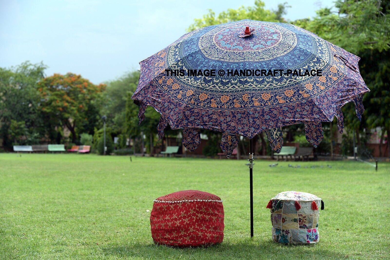 Indian Mandala Beach Garden Umbrella Cotton Large Patio Sun Shade Parasol Decor