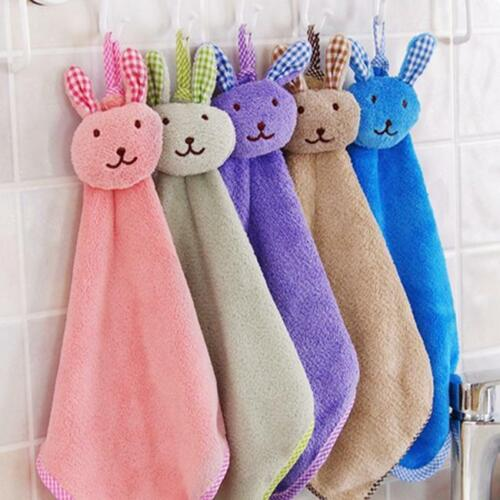Baby Kids Hand Towel Cartoon Animal Kitchen Hanging Wipe Soft Towel BL3