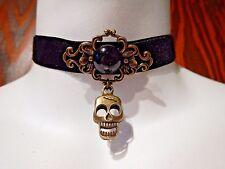 BRONZE SKULL & BLACK VELVET CHOKER filigree PIRATE buccaneer necklace gothic 1Y
