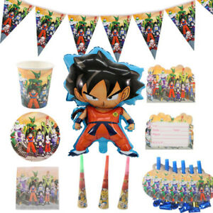 Dragon-Ball-Z-Goku-Fete-D-039-anniversaire-Fournitures-Vaisselle-Assiettes-Tasses-Decor-ballon