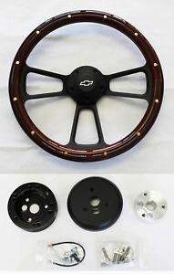 C10-C20-C30-Blazer-Pick-Up-Mahogany-Wood-on-Black-Steering-Wheel-14-034-Bowtie-cap
