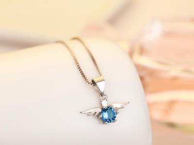 Halo Angel Wing 925 Sterling Silver Micro-inlay Aque Blue CZ Pendant Necklace
