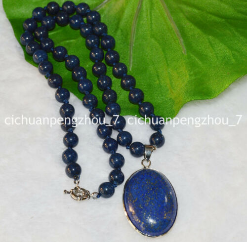 """Natural 8mm Blue Egyptian Lapis Lazuli Round Beads /& Oval Pendant Necklace 18/"""""""