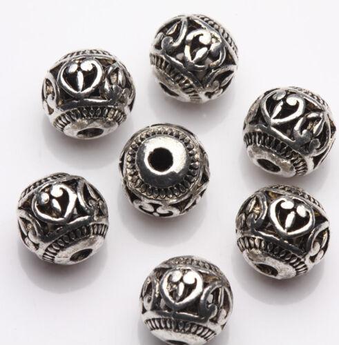 Wholesale 10//20 Pcs Hollow Tibetan Silver Loose Spacer Round Beads Bracelet DIY