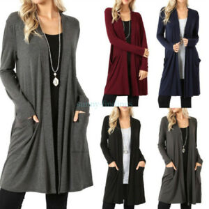 Women-Fashion-Cardigan-Long-Sweater-Overcoat-Open-Front-Long-Sleeve-With-Pocket