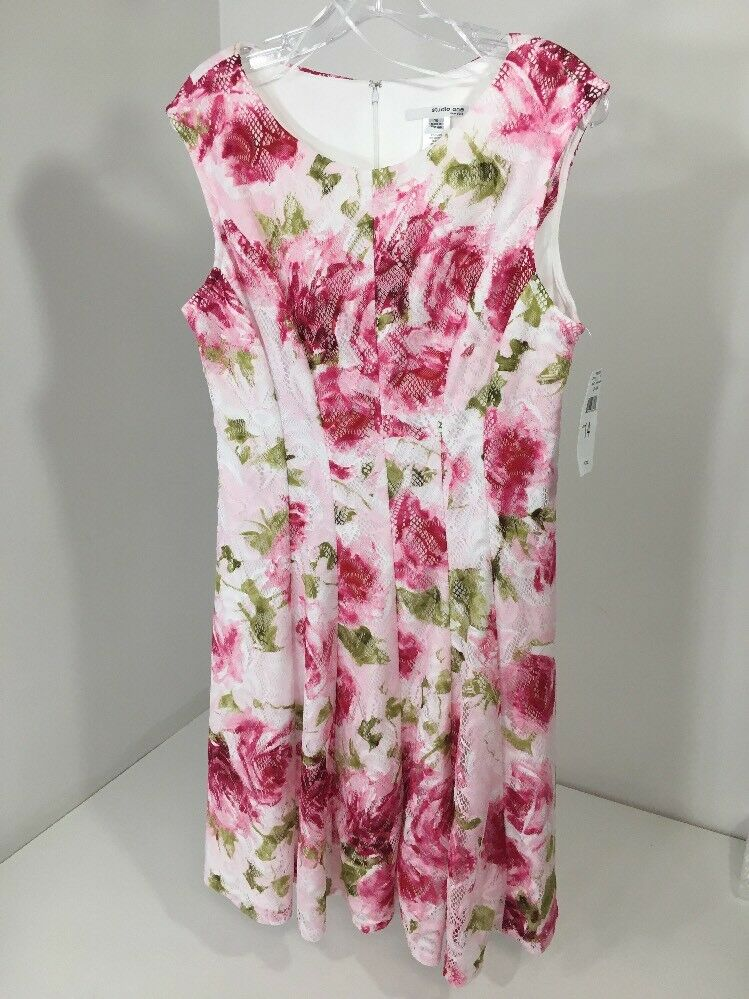 STUDIO ONE WOMEN'S LACE OVERLAY FLORAL DRESS WHT PINK FUCHSIA SZ 14 NWT  72