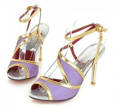 Fashion Ladies Open Toe Cut Out Ankle Strap Slingbacks Stilettos Party Sandals
