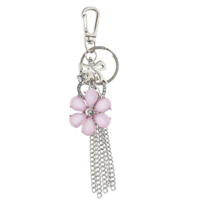 Lux Accessories Silver Tone Pink Flower Chain Tassel Cluster Keychain Bag Charm