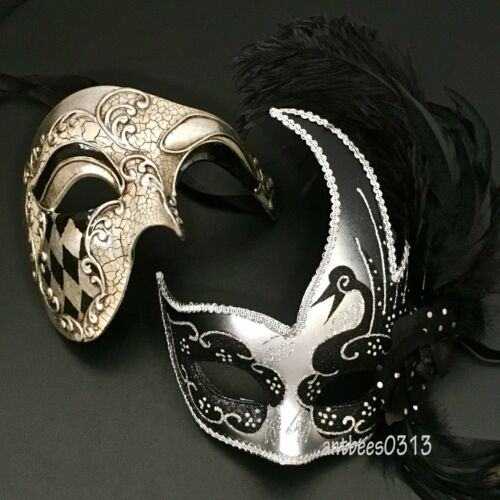Black//Silver Couple Masquerade HalfFace Mask Harlequin Cosplay Costume Halloween