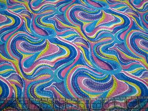 3 Yards Digital Cotton Fabric - QT Christine Graf Serafina Wavy Stripes Ppl Pink
