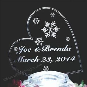 Snowflake Lighted Wedding Cake Topper SideHeart Acrylic Custom LED ...