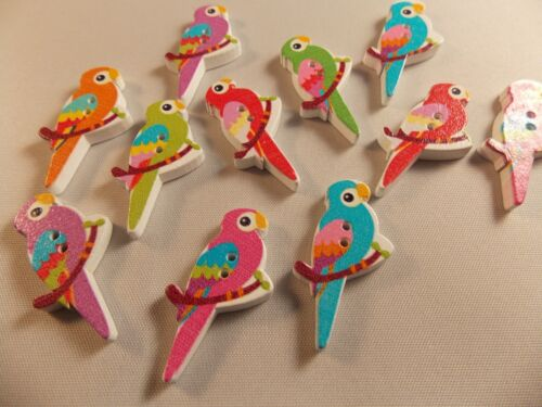 10 bois perroquet boutons fabrication carte scrap booking sewing craft embellissement