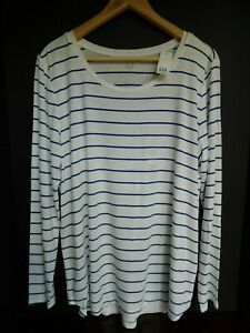 NWT-Gap-Women-039-s-Luxe-Long-Sleeve-White-Blue-Striped-Top-M-L-XL-New-MSRP-35